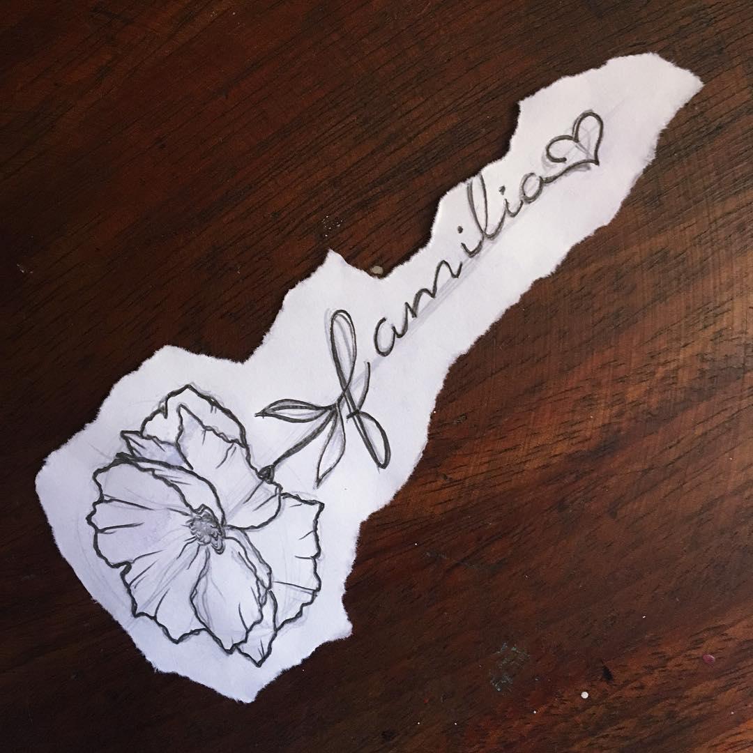 於小姐罂粟花英文字纹身手稿