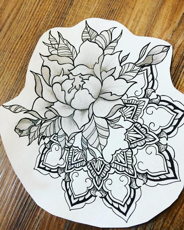 做旅游顾问的禹小姐牡丹梵花纹身手稿