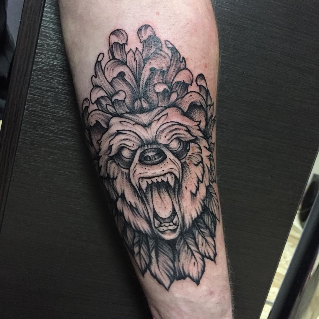 做音效师的逄先生小臂熊纹身图案图片