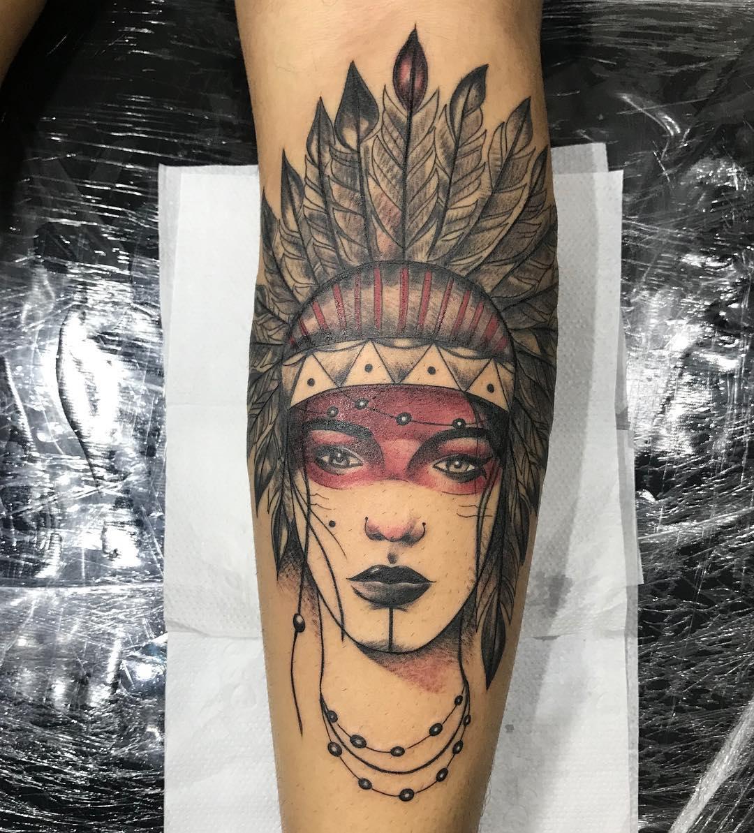 莫先生小臂印第安美女纹身图案图片