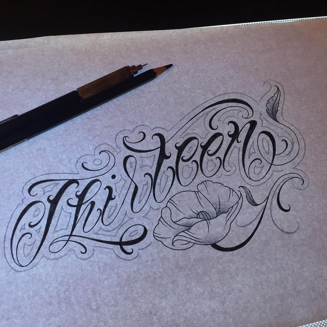 奇卡诺花体字罂粟花纹身手稿
