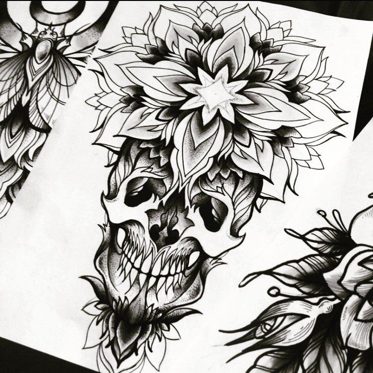 梵花骷髅纹身手稿