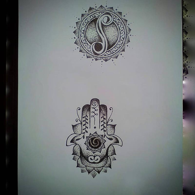 梵花音符佛手纹身手稿