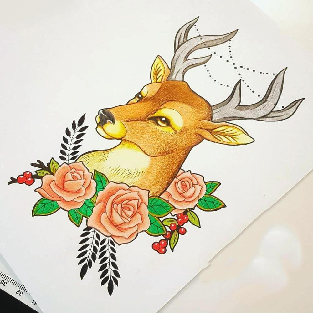 麋鹿玫瑰纹身手稿